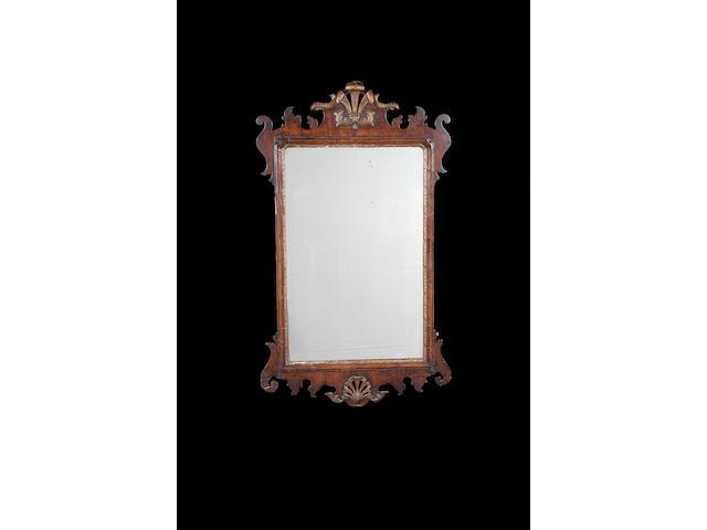 A George III mahogany and giltwood wall mirror,