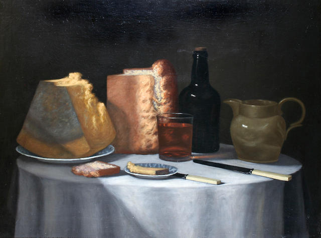 Follower of George Smith of Chichester (Chichester 1714-1776) Still life of bread, cheese, glass of ale and bottle of ale,