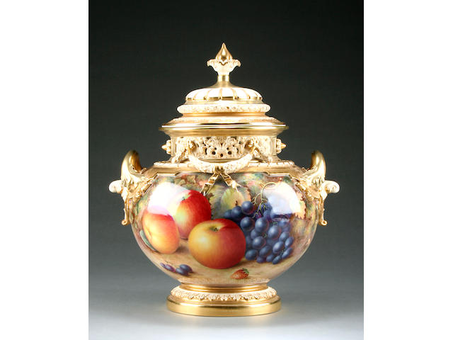 A large and impressive Royal Worcester fruit painted vase and cover by Harry Ayrton  Post war