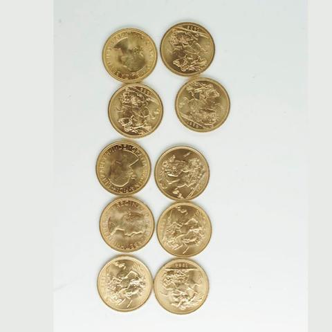 Elizabeth II: Ten sovereigns, 1957, 1958, 1959, 1962, 1963, 1964, 1965, 1966, 1967, 1968, cased.