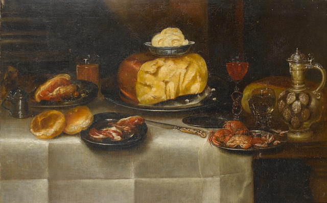 Alexander  Adriaenssen the Elder (Antwerp 1587-1661) Cheese, ham, bread, crabs two glasses, an inlai