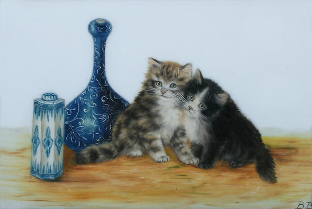 Bessie Bamber (British, active circa 1900-1910) Two kittens,