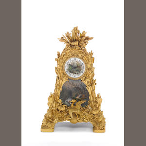 A mid to late 19th century French porcelain panelled ormolu mantel clock Unsigned