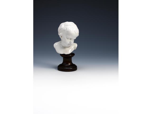 A very rare Chelsea white porcelain head of a young boy Circa 1750.