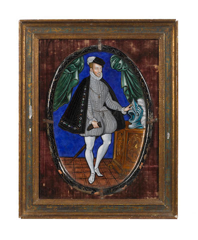 A 19th century Limoges enamel oval plaque depicting Charles IX of France