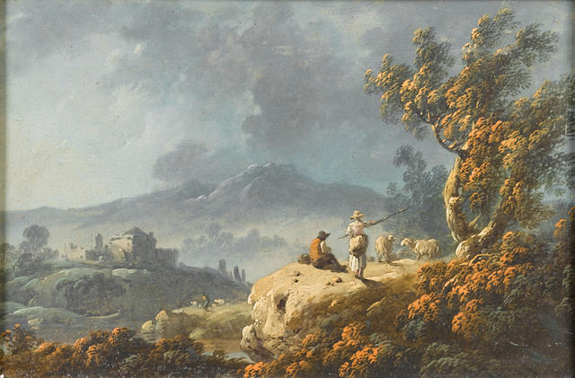 (n/a) Jean-Baptiste Pillement (Lyons 1728-1808) A rocky river landscape at dusk with shepherds resting beneath a tree; and A river landscape (2) in carved and pierced, gilt frames