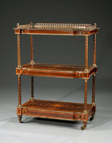 A maple, mahogany and inlaid Louis XVI style marquetry and gilt mounted three tier what-not, mid 19th Century