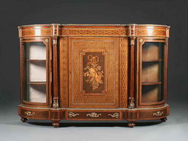 A figured walnut and parquetry inlaid marquetry and ormolu mounted credenza