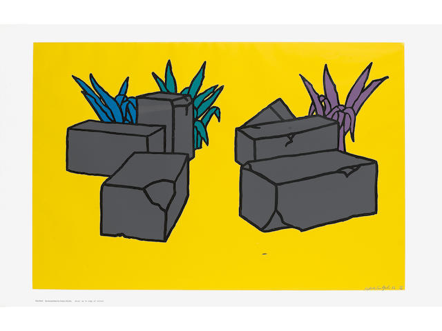 "Patrick Caulfield (British, 1936-2005) Ruins Colour screenprint, 1964, on thin wove paper, signed, dated and numbered 10/40 in pencil, published in the ""ICA Print Portfolio"" by the ICA, London, printed by Kelpra Studio, 582 x 912mm (23 x 35 1/2in)(SH) unframed"