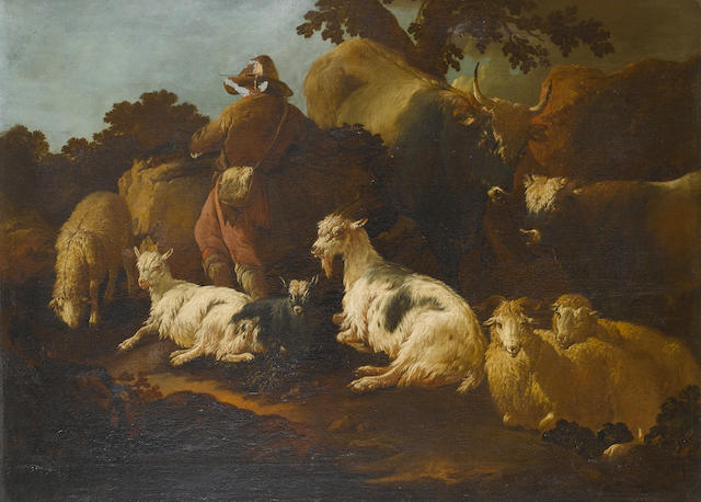 Philipp Peter Roos, called Rosa da Tivoli (Frankfurt-am-Main 1657-1706 Rome) A shepherd leaning on a