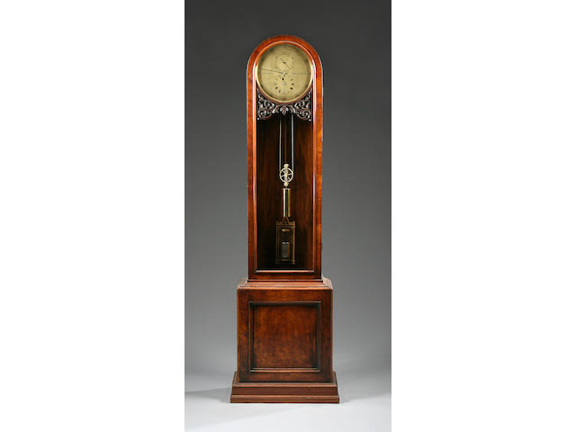 A Victorian walnut-cased brass dial longcase regulator H. Samuel, Manchester sold with weight, mercury jar pendulum, key and winder