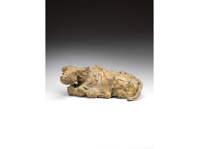 Dame Elisabeth Frink R.A. (British, 1930-1993) Lying Down Buffalo 33 cm. (13 in.) long