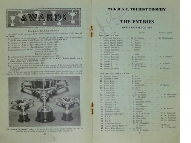 27th RAC Tourist Trophy Race meeting programme, Goodwood, August 1962,
