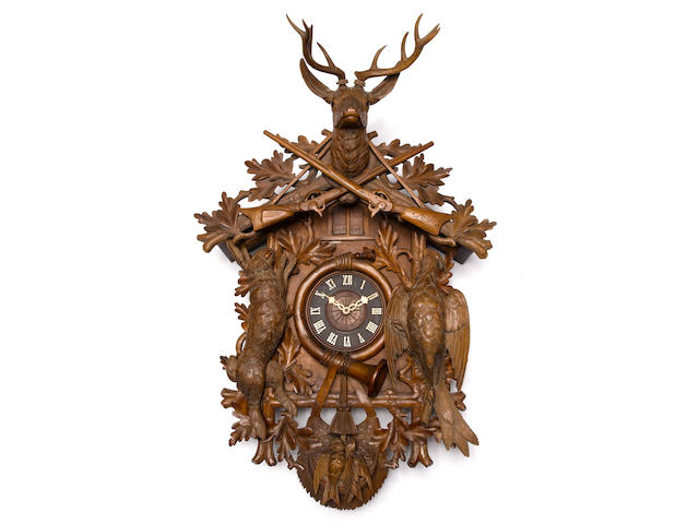 A late 19th century Black Forest quarter striking Cuckoo and musical wall clock Unsigned