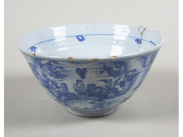 A Dutch Delft bowl Dated 1671
