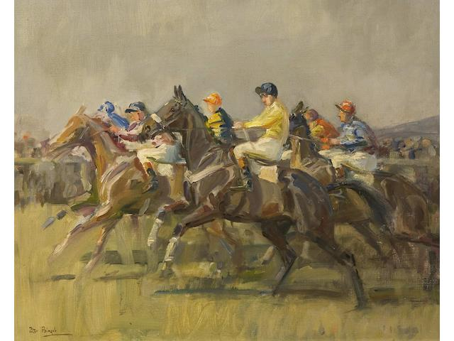 Peter Biegel (1913-1987) The start of a two mile chase at Cheltenham