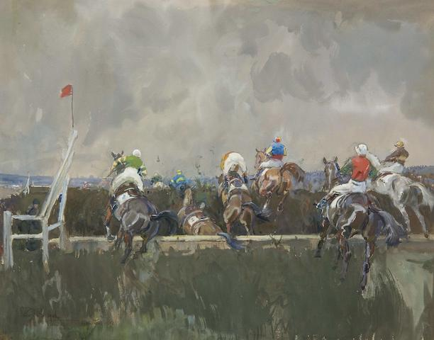 Peter Biegel (1913-1987) The Grand National 1953, The open ditch after Valentines - First time round, Ordinance striking out ten lengths clear, Pearly Prince (baulked), Little Yid, Glen Fire (in ditch), Mont Tremblant stopping Larry Finn, Early Mist, Armoured Knight going in, and Overshadow jumping