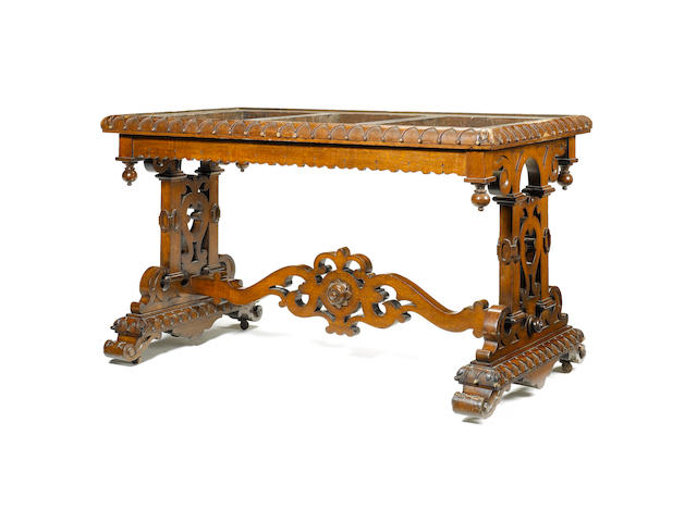 An early Victorian carved oak Centre Table in the manner of Richard Bridgens, in the Jabobethan tast