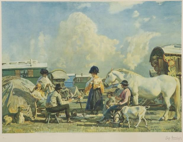 Sir Alfred James Munnings P.R.A., R.W.S. (British, 1878-1959) Gysies and caravans