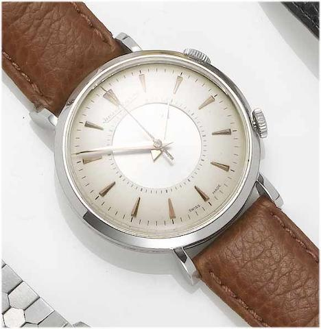 Jaeger LeCoultre. A stainless steel centre second alarm wristwatchMemovox, Case No.568508, 1950's