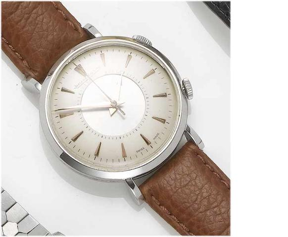 Jaeger LeCoultre. A stainless steel centre second alarm wristwatch Memovox, Case No.568508, 1950's