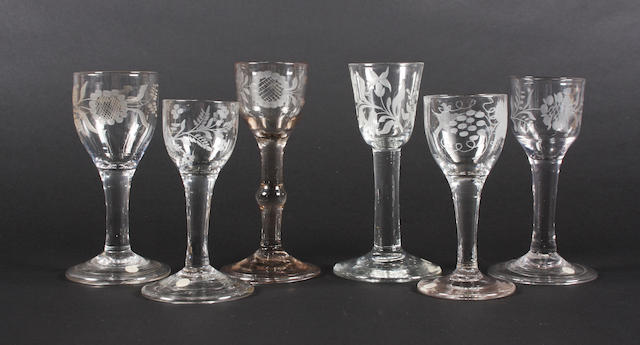 Six various wine glasses Late 18th Century