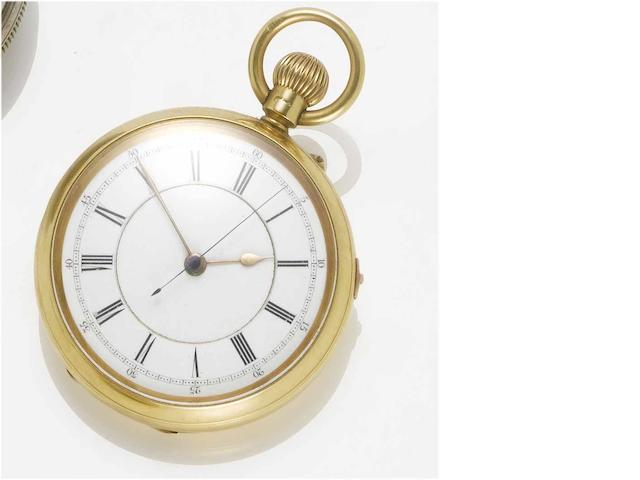 Swiss. An 18ct gold open face chronograph pocket watch  Birmingham Hallmark for 1893, case stamped JR for John Rotherham