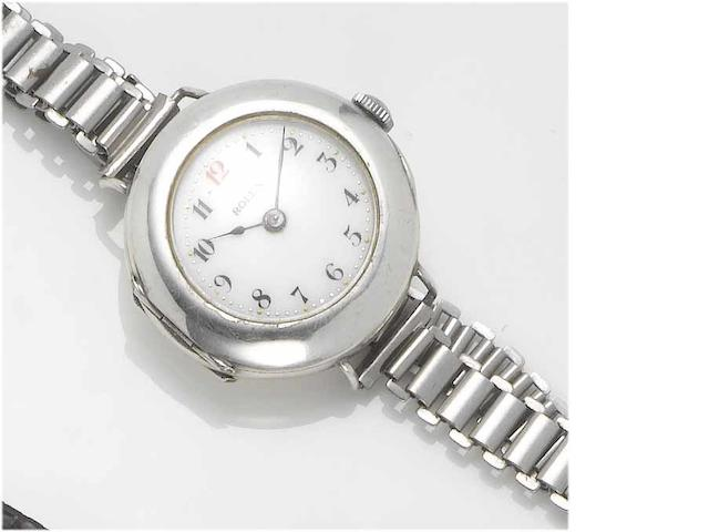 Rolex. A lady's silver wristwatch  London Hallmark for 1914