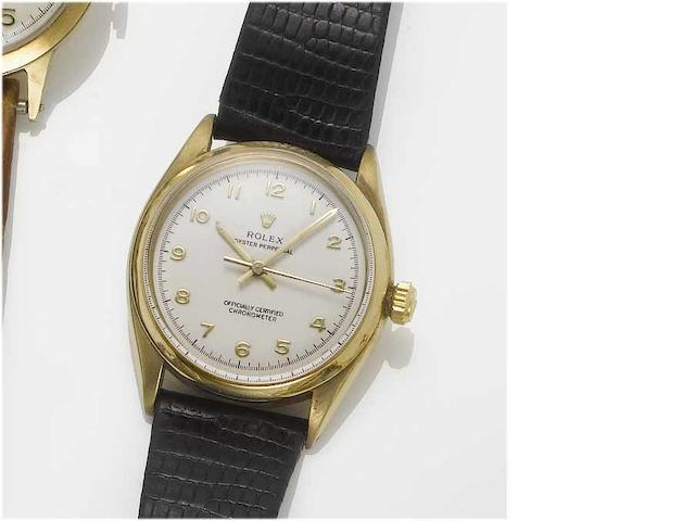 Rolex. A 9ct gold centre seconds wristwatch  Oyster, Glasgow Import Mark for 1957