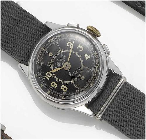 Swiss. A stainless steel military chronograph wristwatch S/1897, 1940's