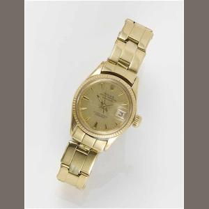 Rolex. A lady's 18ct gold automatic centre seconds calendar bracelet watch  Datejust, London Import Mark for 1965