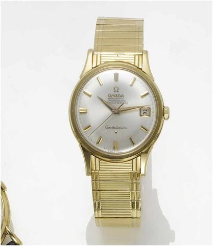 Omega. An 18ct gold automatic centre seconds calendar bracelet watch with fitted box  Constellation, Birmingham Hallmark for 1962