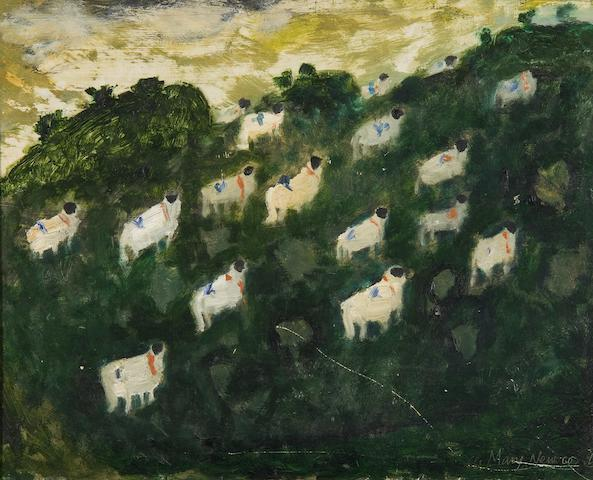Mary Newcomb (British, 1922-2008) Sheep on a hillside