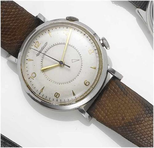 Jaeger LeCoultre. A stainless steel centre seconds alarm wristwatch  Memovox, 1950's