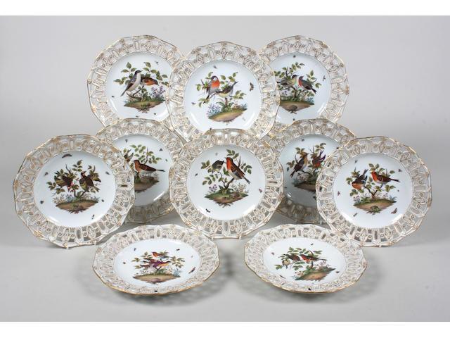 A set of ten Meissen dessert plates