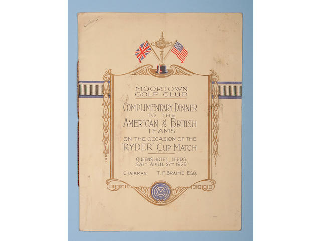 The 2nd Ryder Cup 'Complimentary Dinner' menu 27 April 1929