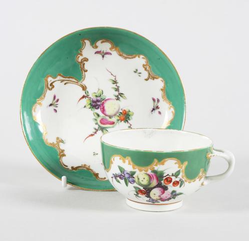 A Worcester teacup and saucer Circa 1770