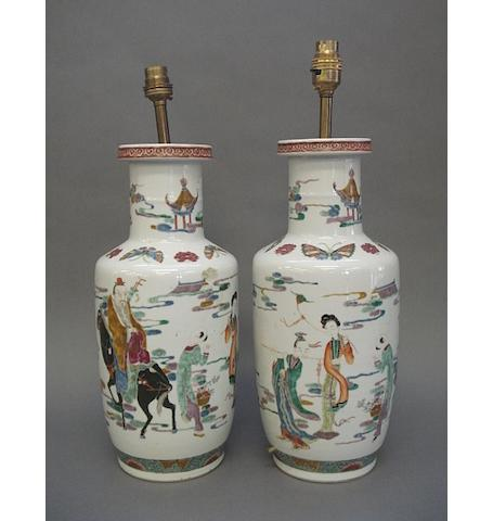A pair of Chinese famille rose style rouleau vases