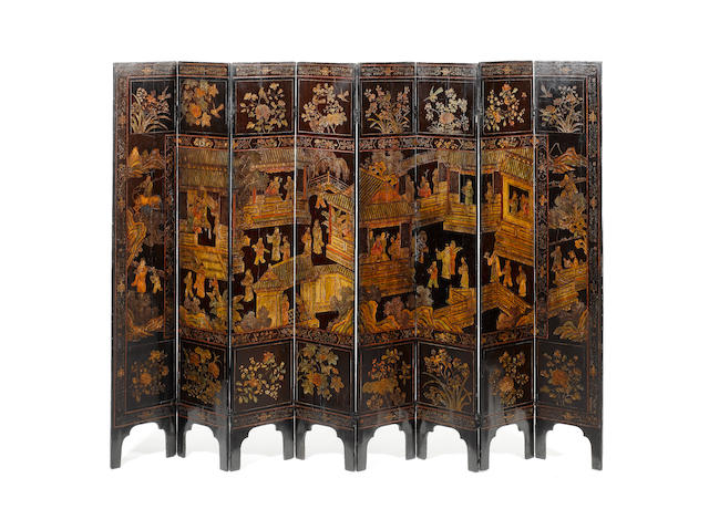 A late 18th/early 19th century Chinese export coromandel lacquer eight fold screen
