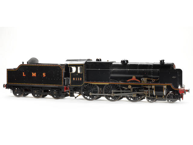 A well engineered 5in gauge model of the L.M.S Royal Scot class 4-6-0 locomotive and tender No.6112