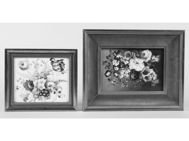 An English porcelain plaque and another