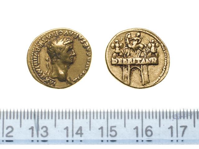 Claudius, AD 41-54, Gold Aureus, AD 49-50, laureate head of Claudius right, TICLAUD CAESAR AUG P.M.TRP.VIIII.IMPXVI,