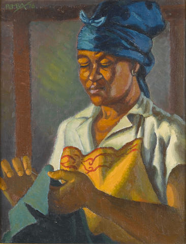 George Mnyalaza Milwa Pemba (South African, 1912-2001) An African woman sewing