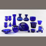 A collection of blue glass items