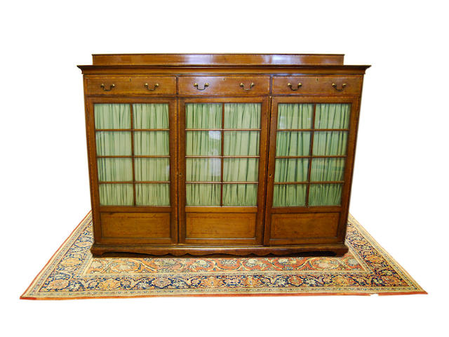 An Edwardian mahogany and satinwood-crossbanded standing bookcase