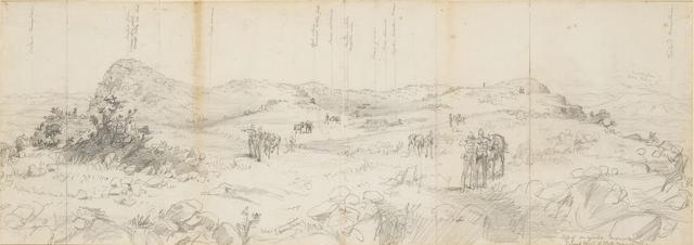 Melton Prior (British, 1845-1910) General Wood and staff examining the top of Majuba Mountain, following the Battle of Majuba