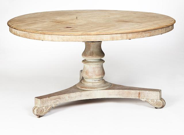 A late Regency bleached mahogany centre table