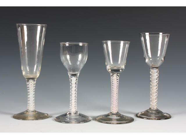 Four opaque-twist wine glasses