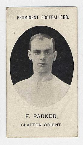 Taddy A Prominent Footballers collection inc. Fulham, Millwall, Swindon Town, QPR, Bradford City, Notts Forest, Tottenham, Wolverhampton, Chelsea, Clapton Orient, Brighton & Hove Albion, Woolwich, Notts Forest etc., mixed with and without footnote backs, P-VG.