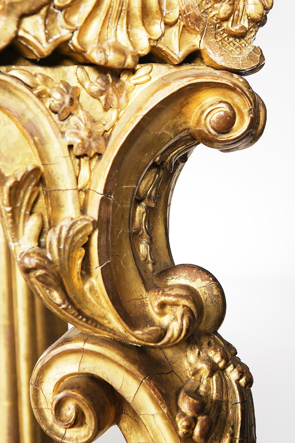 A late George III giltwood and parcel gilt console table